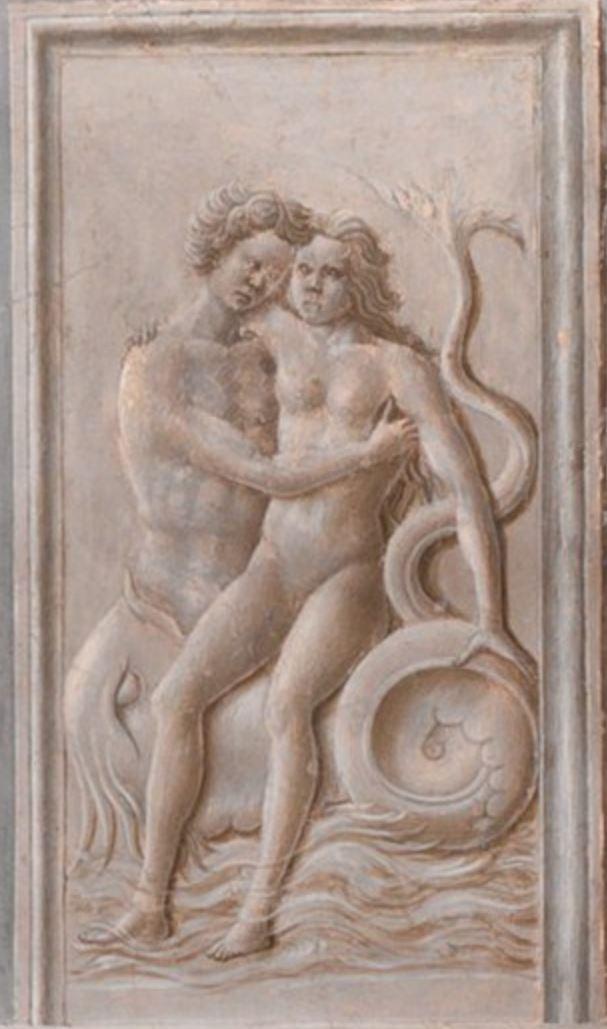 Fra Carnevale 1467 La naissance de la Vierge MET bas relief triton et nereide