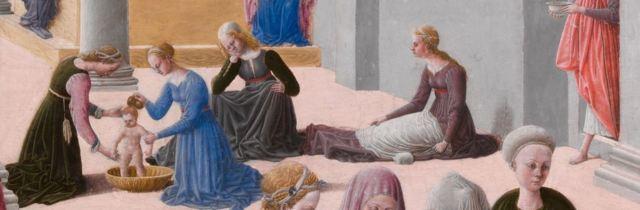 Fra Carnevale 1467 La naissance de la Vierge MET detail Marie
