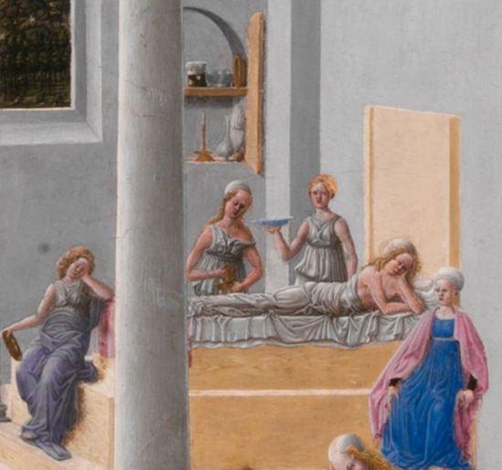 Fra Carnevale 1467 La naissance de la Vierge MET detail anne