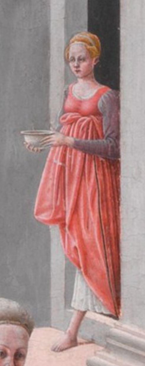 Fra Carnevale 1467 La naissance de la Vierge MET detail porteuse eau