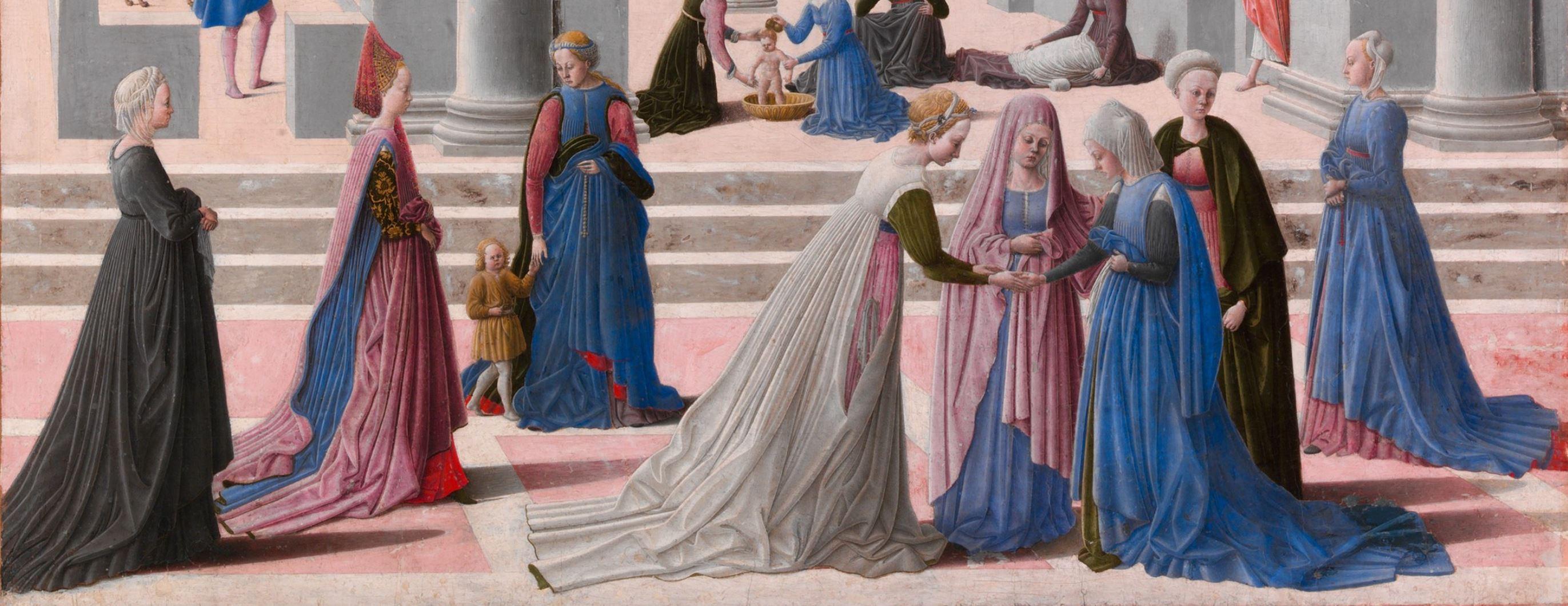 Fra Carnevale 1467 La naissance de la Vierge MET detail rue