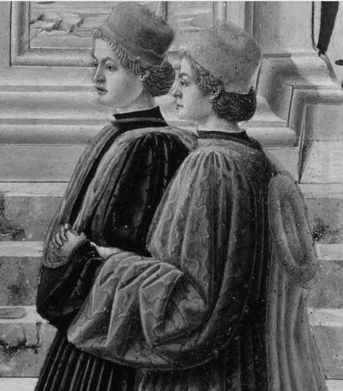 Fra Carnevale 1467 La presentation de la Vierge au Temple Museum Fine Arts Boston jeunes gens