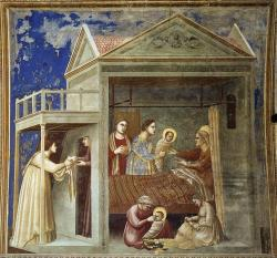 Giotto_di_Bondone_ 1303-05 The_Birth_of_the_Virgin_Cappella degli Scrovegni Eglise de l'arena Padoue