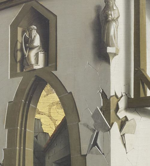 Konrad Witz Adoration des Mages Musee des BA Geneve detail ecaillure