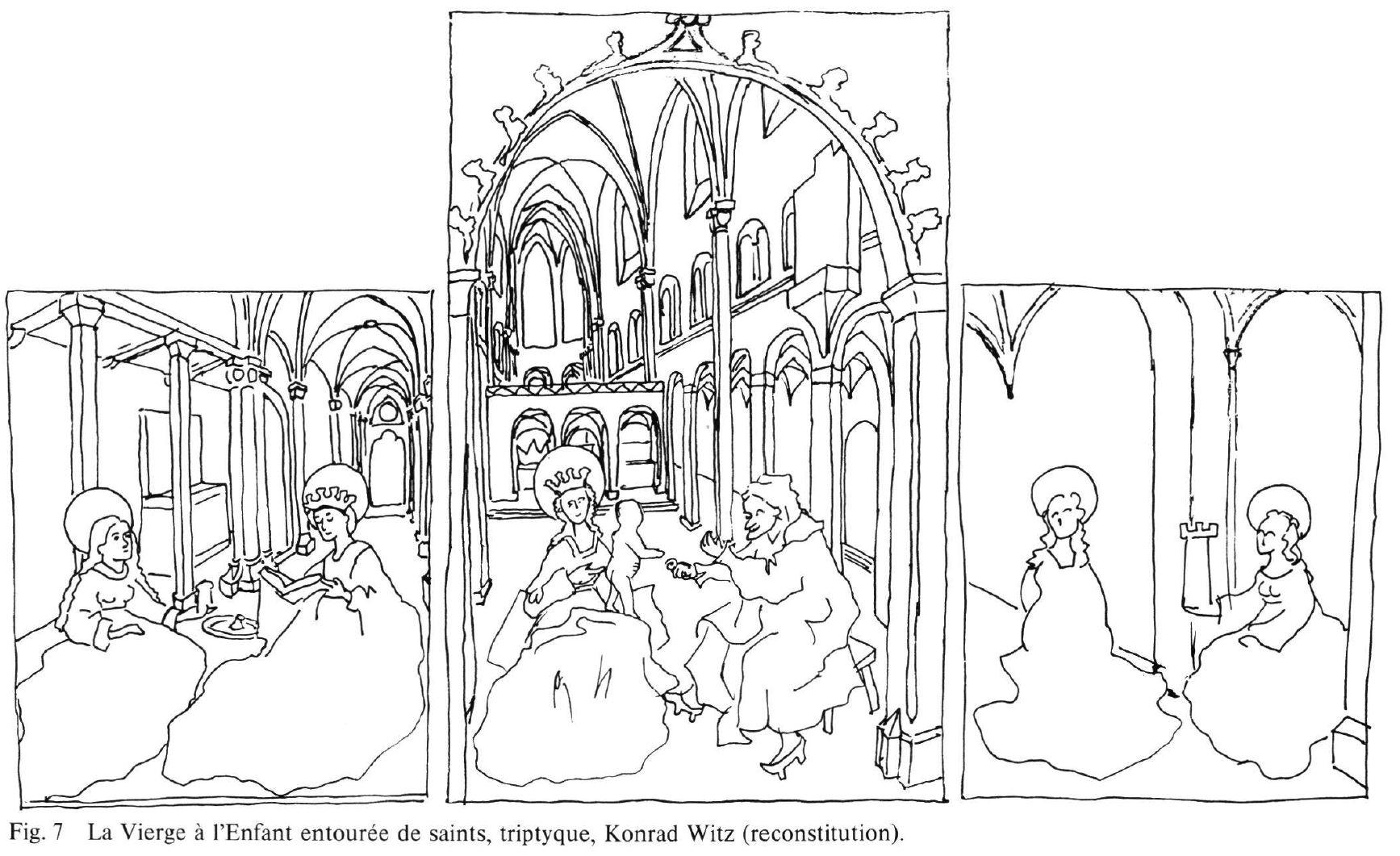 Konrad_Witz_Se Marie Madeleine et Ste Catherine Musee Oeuvre Strasbourg reconstution Wirth