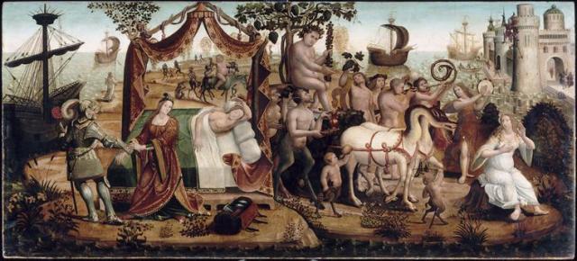 Maitre des Cassoni Campana 1510-20 Ariane a Naxos Avignon, musee du Petit Palais