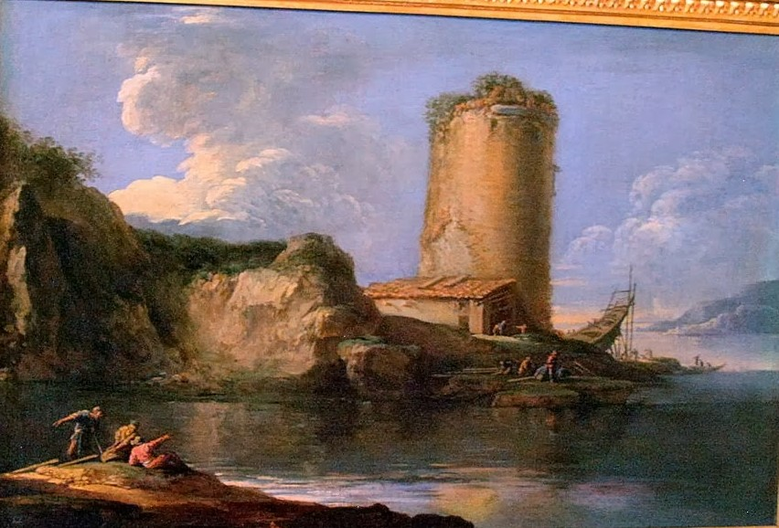 Rosa 1636-38 Paysage marin avec une tour Musee Conde Chantilly