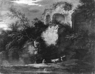 Rosa 1638-39 A1 Paysage avec ruines, berger et boeufs palazzo Corsini Roma