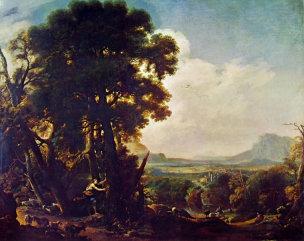 Rosa 1640 Herminie inscrit sur un arbre le nom de Tancrede Galeria Estense Modene