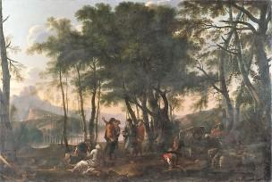 Rosa 1641-43 selva dei filosofi Diogene jetant son ecuelle Pitti copie national gallery