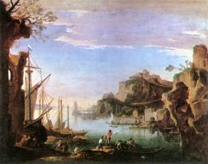 Rosa 1643-45 Paysage marin avec ruines Musee des BA Budapest