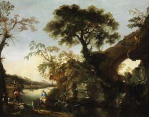 Rosa 1643-45 Paysage rocheux avec cascade Musee des BA Budapest