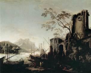 Rosa 1645-49 Paysage marin avec tour Pitti Florence