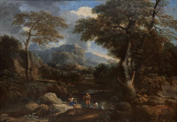 Rosa 1650-55 Paysage avec trois figures Palazzo Branciforte Palerme