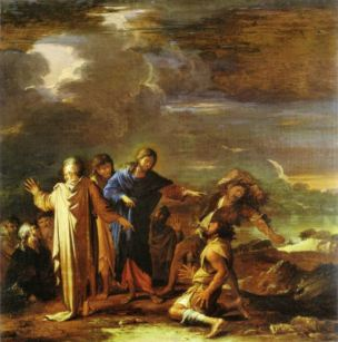 Rosa 1660-62 Christ guerit les deux possedes de Gerasa coll priv