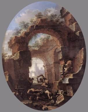 Rosa 1660-65 Anachoretes tentes par des demons palazzo Corsini Roma