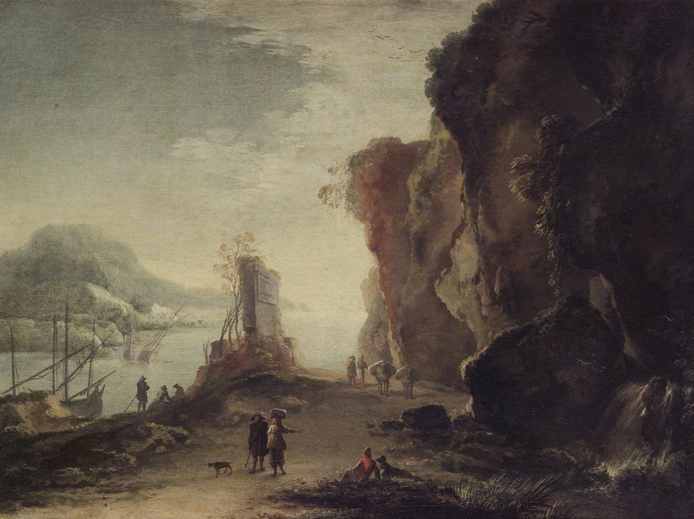 rosa 1638-39 A2 Paysage marin avec voyageurs accademia san Luca