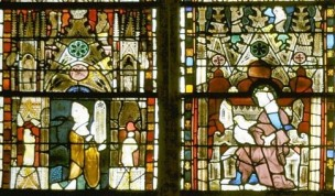 023 1325-30 Geoffroy de Bar offrant vitrail baie 23 Chapelle St Louis Evreux