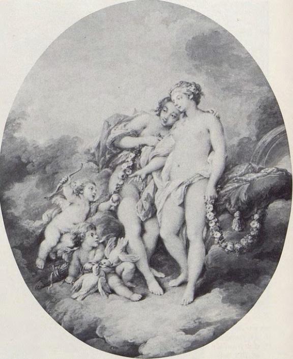 Boucher 1743a Amour offrant une pomme a Venus copie par Jacques Charlier coll priv