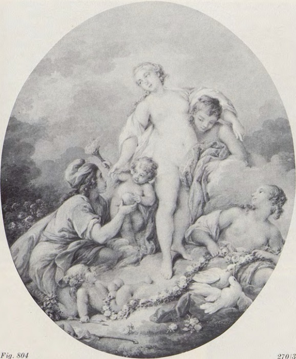 Boucher 1743a Le jugement de Paris copie par Jacques Charlier coll priv