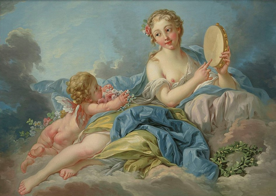 Boucher 1756a La muse Terpsychore (ou Erato) col priv