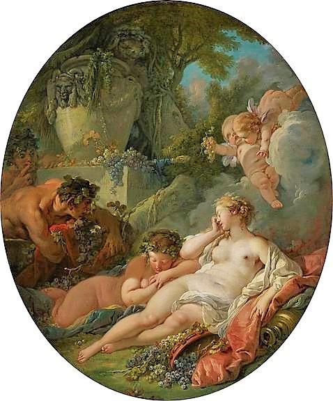 Boucher 1760b Bacchantes et satyre coll priv