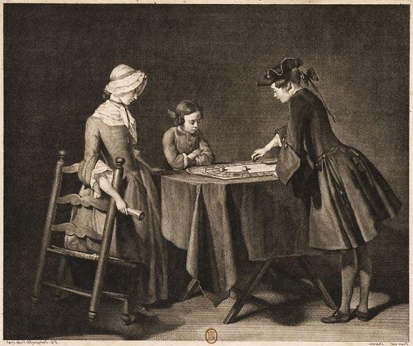 Chardin 1743 (salon) Le Jeu de l oye, gravure par Surugue fils (inversee GD)