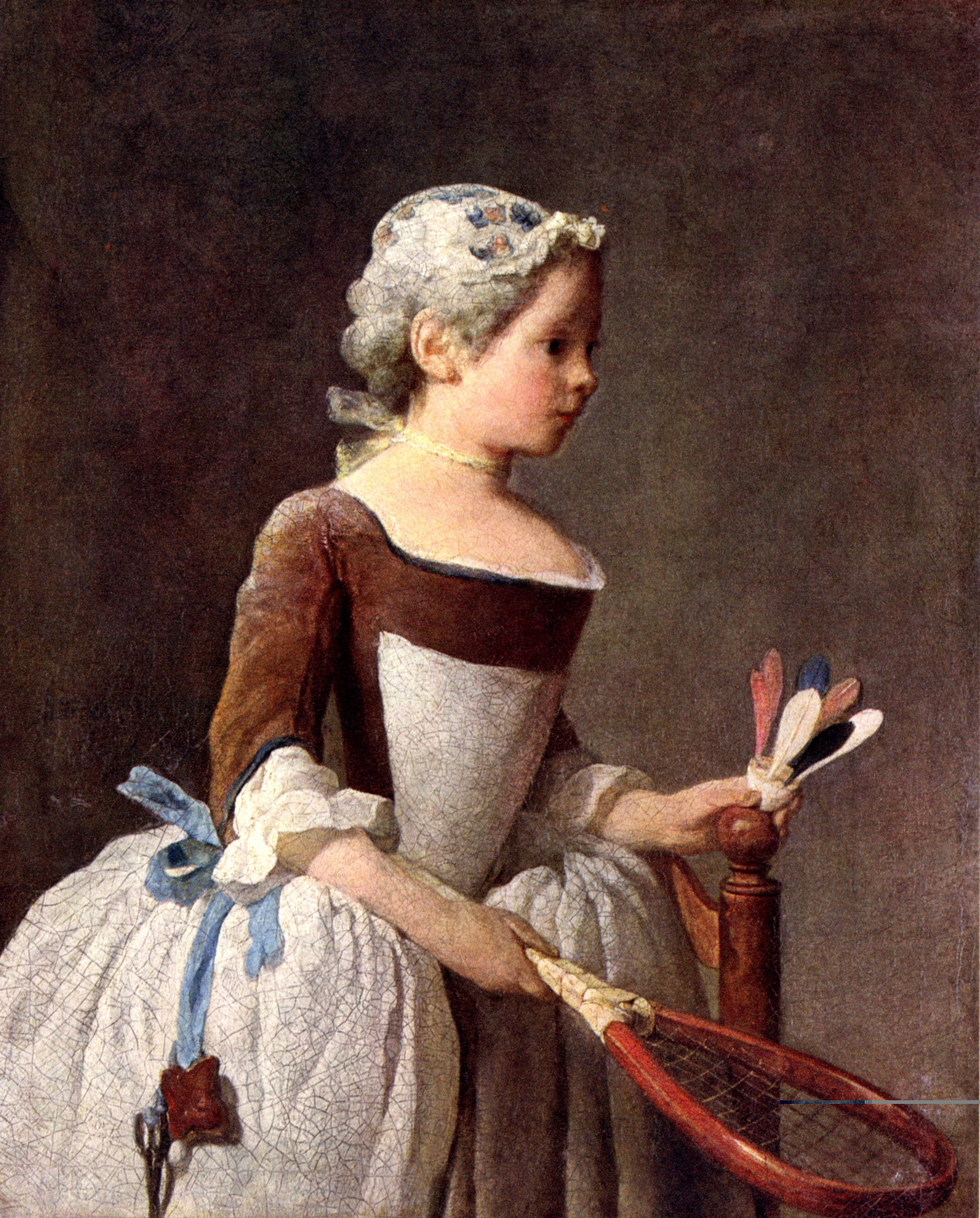 Chardin Z vers 1740 girl-with-racket-and-shuttlecock Galleria degli Uffizi, Florence
