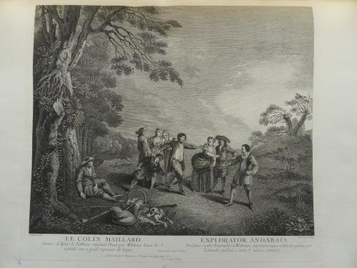Colin Maillard grevure de etienne Brion d'apres Watteau