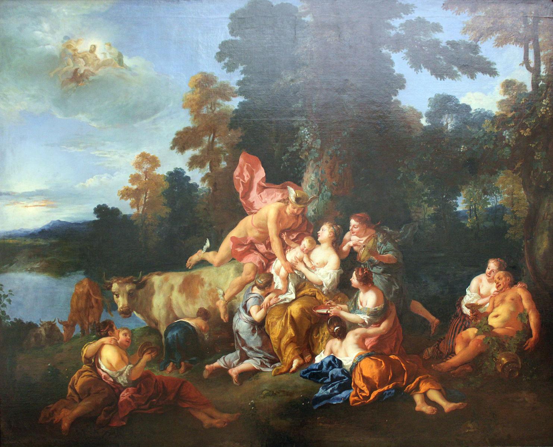 De Troy 1717 Bacchus enfant confie par Mercure aux nymphes du mont Nysa Gemaldegalerie Berlin