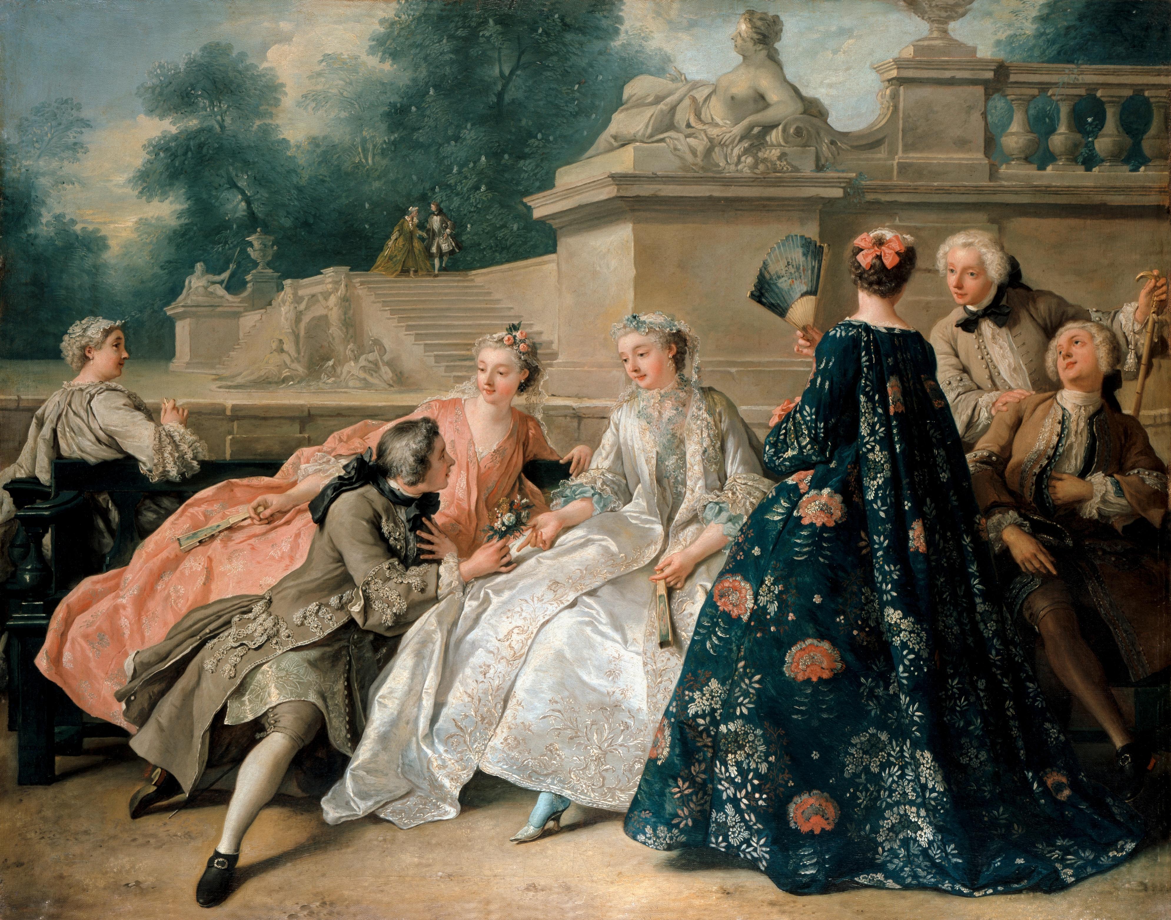 De-Troy-1731-La-declaration-dAmour-ou-Assemblee-dans-un-parc-Chateau-de-Potsdam-Sans-Souci
