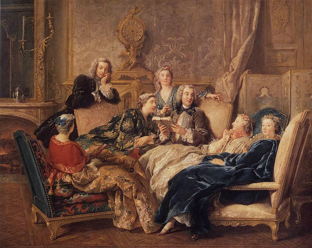 De Troy 1731 Lecture dans un salon, dit La Lecture de Moliere, coll priv