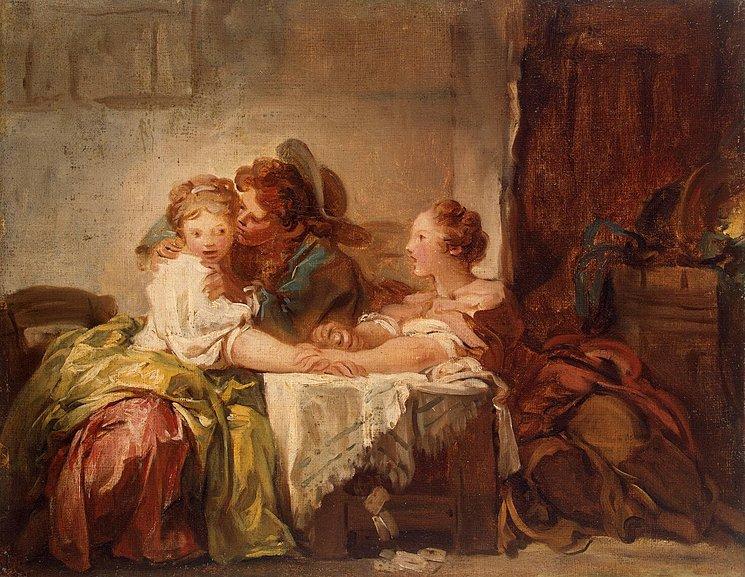 Fragonard 1759 ca L'enjeu perdu ou Le baiser vole Ermitage Saint Petersbourg