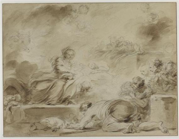 Fragonard 1775 adoration_des_bergers_Louvre dessin