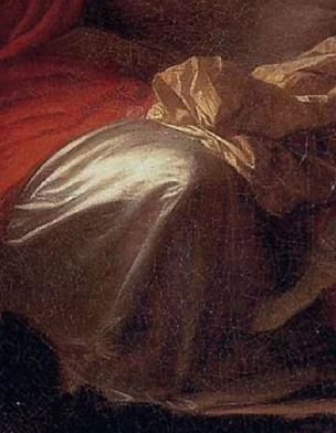 Fragonard 1777 Le verrou Louvre 73 × 93 cm dteail genou