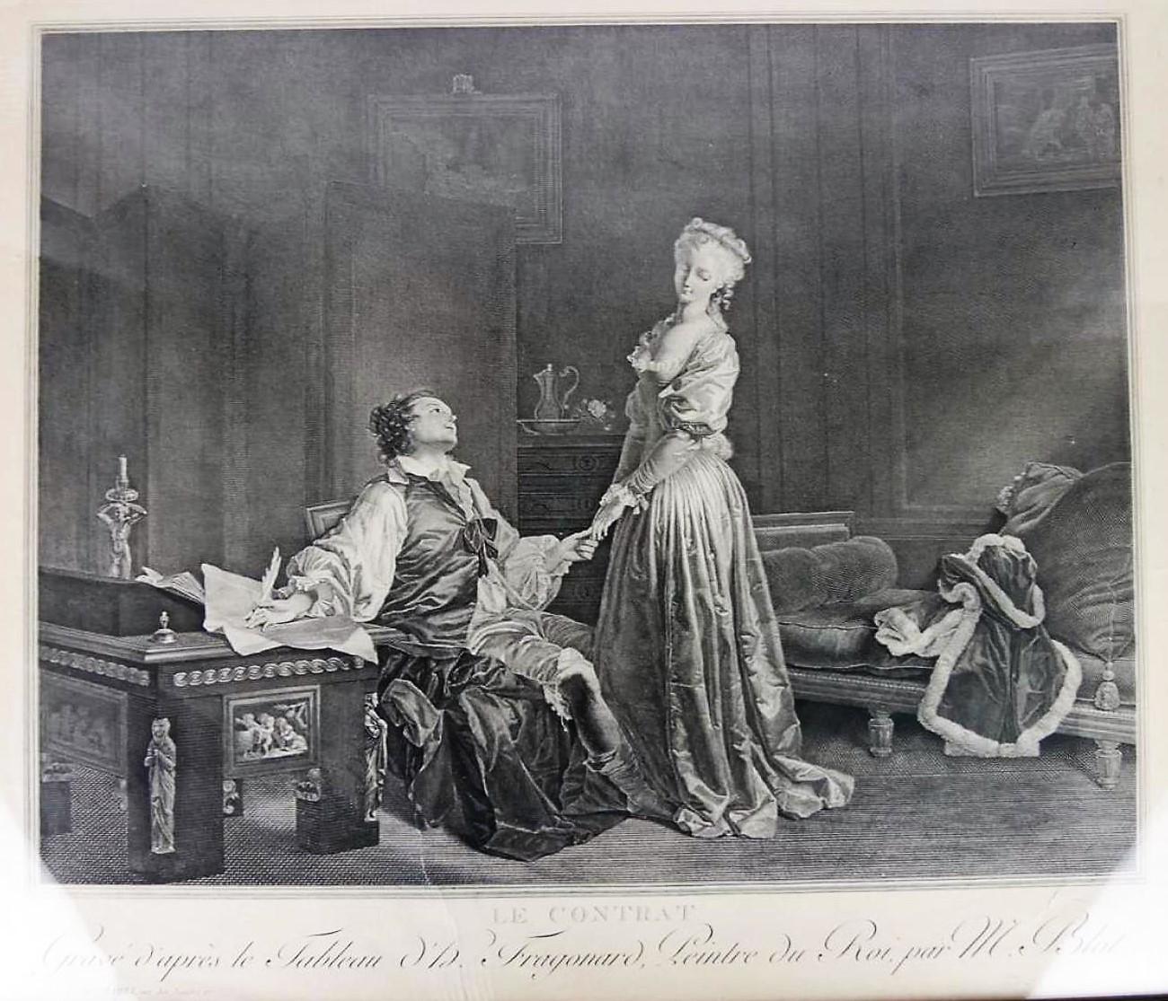 Fragonard 1778 Le contrat Gravure de Blot 1792