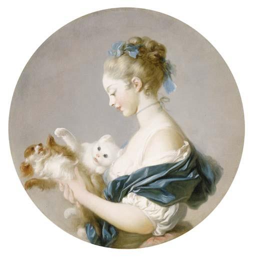 Fragonard Jeune fille tenant dans ses bras un chat et un chien 1775-80 coll part