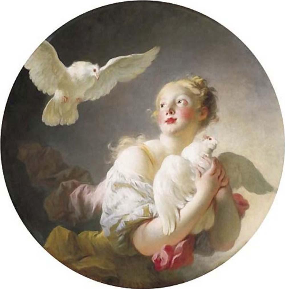 Fragonard Jeune fille tenant dans ses bras une colombe 1775-80 coll part