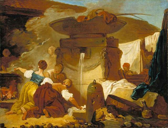 Fragonard Les Blanchisseuses a la fontaine 1773-76 Coll Particuliere NY