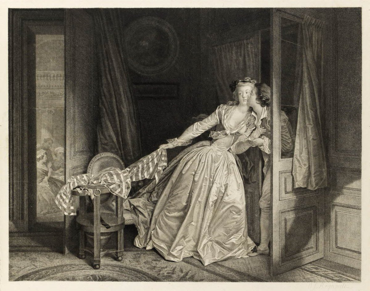 Fragonard et Marguerite Gerard 1785-88 Le baiser a la derobee 45,1 × 54,8 cm Gravure de Regnault 1788