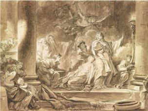 Fragonard. 1765 Coresus et Callirhoe lavis 34,6 x 46,5.