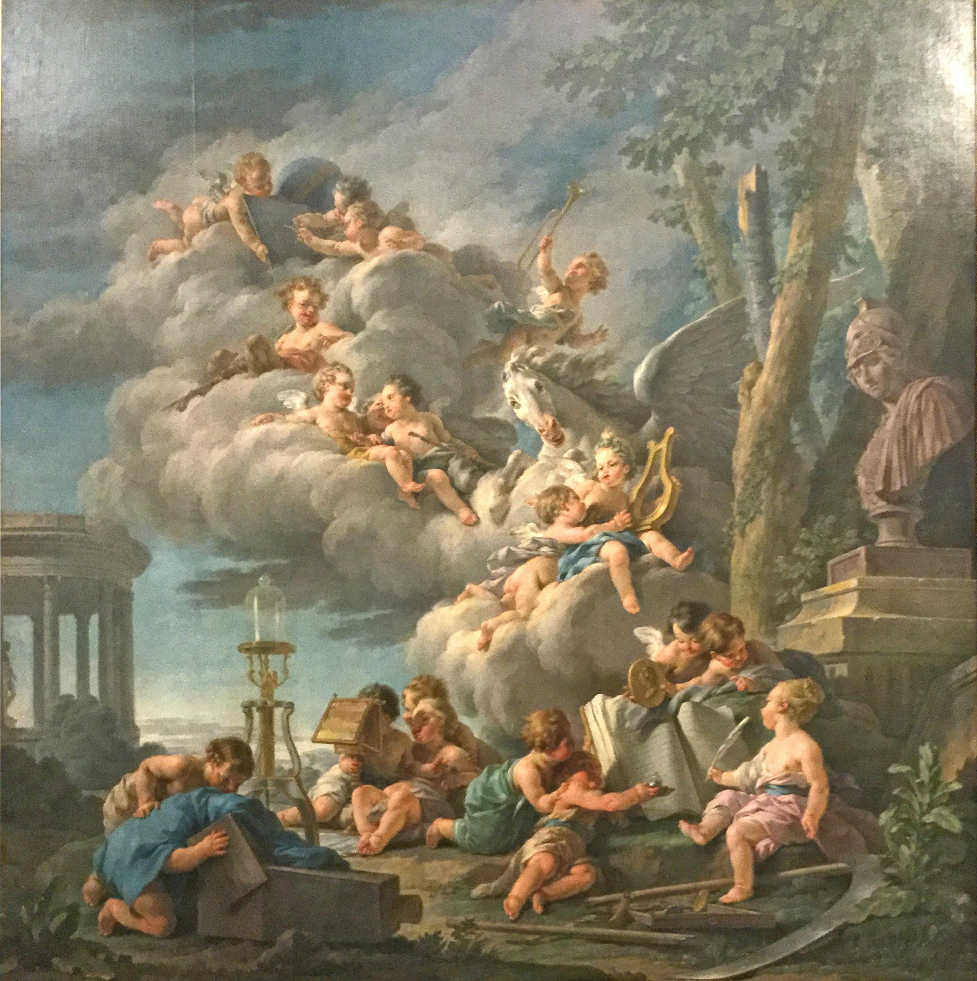 HALLE Noel 1761 Les Genies de la poesie , de l'histoire, de la physique et de l'astronomie Musee des BA Angers