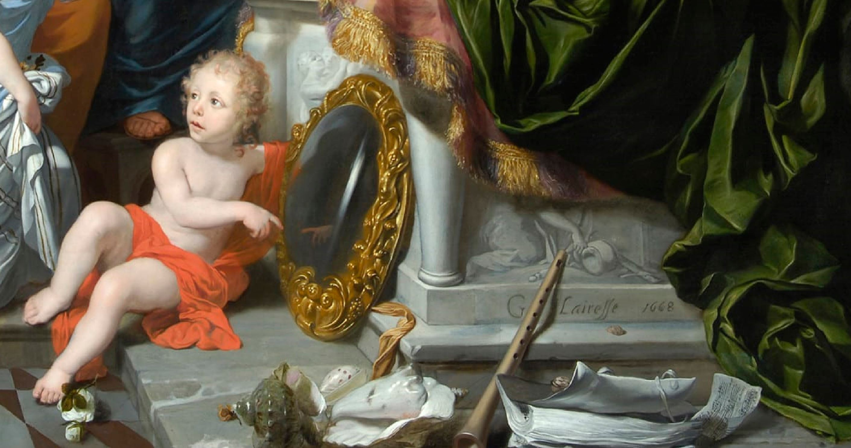 Lairesse 1668 Les cinq sens Glasgow museums detail miroir