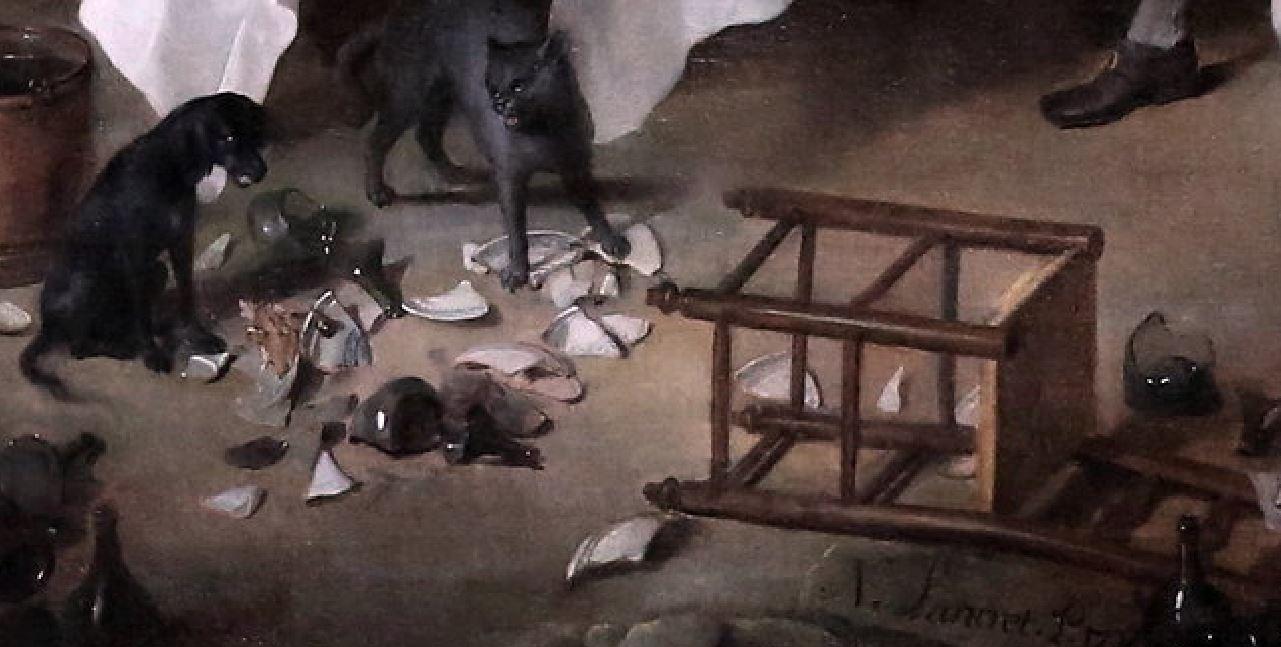 Lancret 1735 Le Dejeuner de jambon Musee Conde Chantilly photo J L Mazieres detail chaise