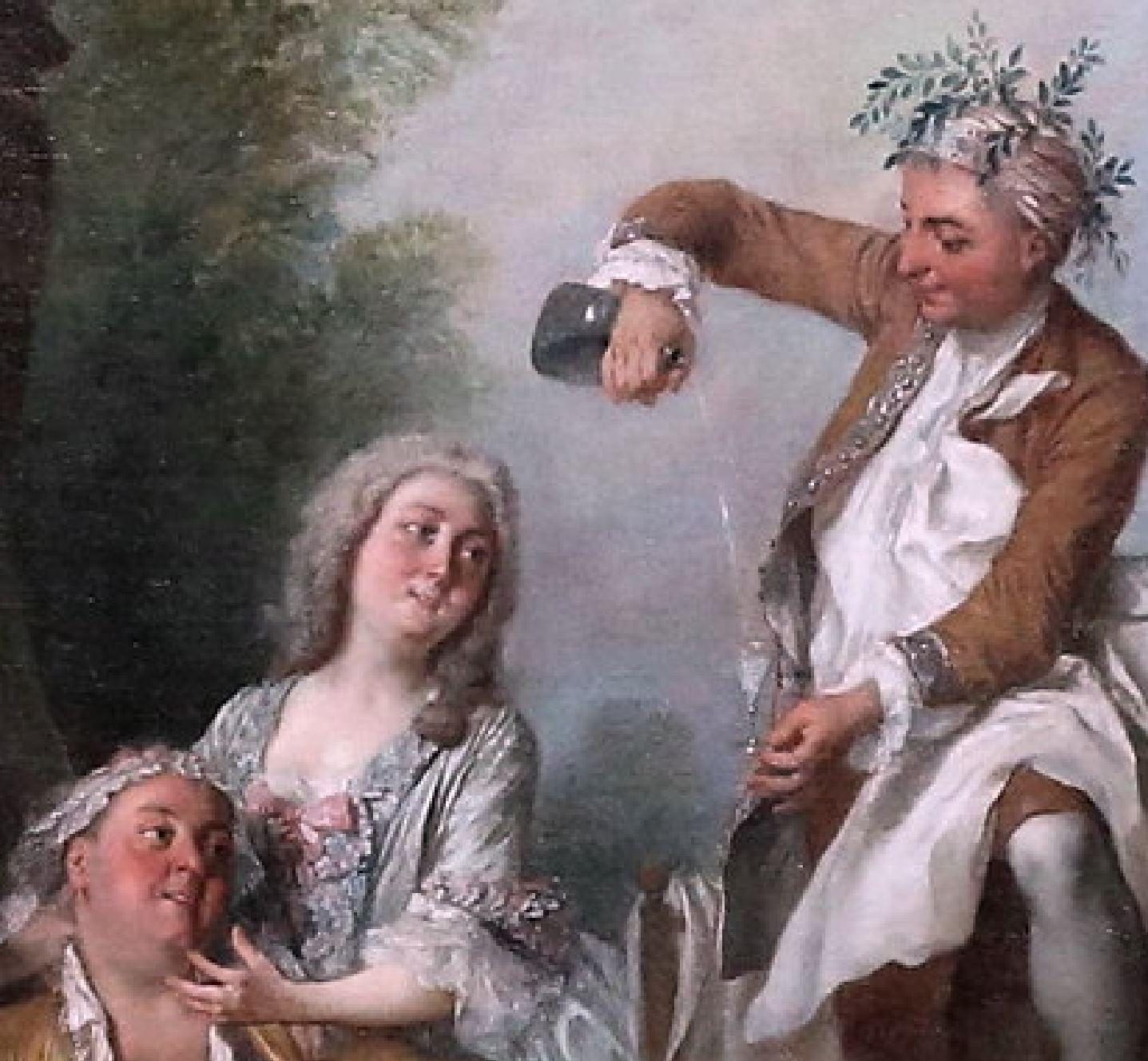 Lancret 1735 Le Dejeuner de jambon Musee Conde Chantilly photo J L Mazieres detail filet