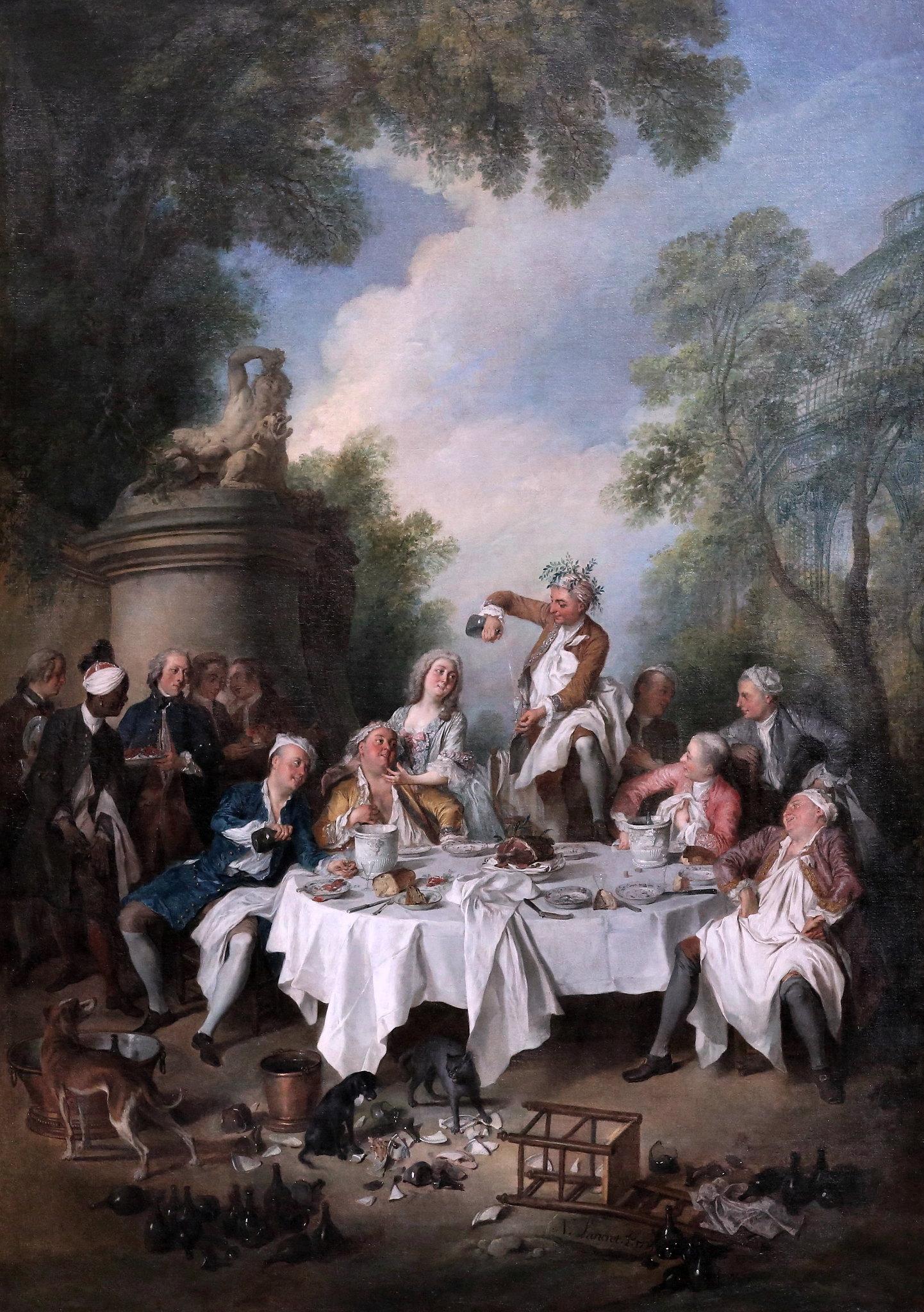 Lancret 1735 Le Dejeuner de jambon Musee Conde Chantilly photo J L Mazieres