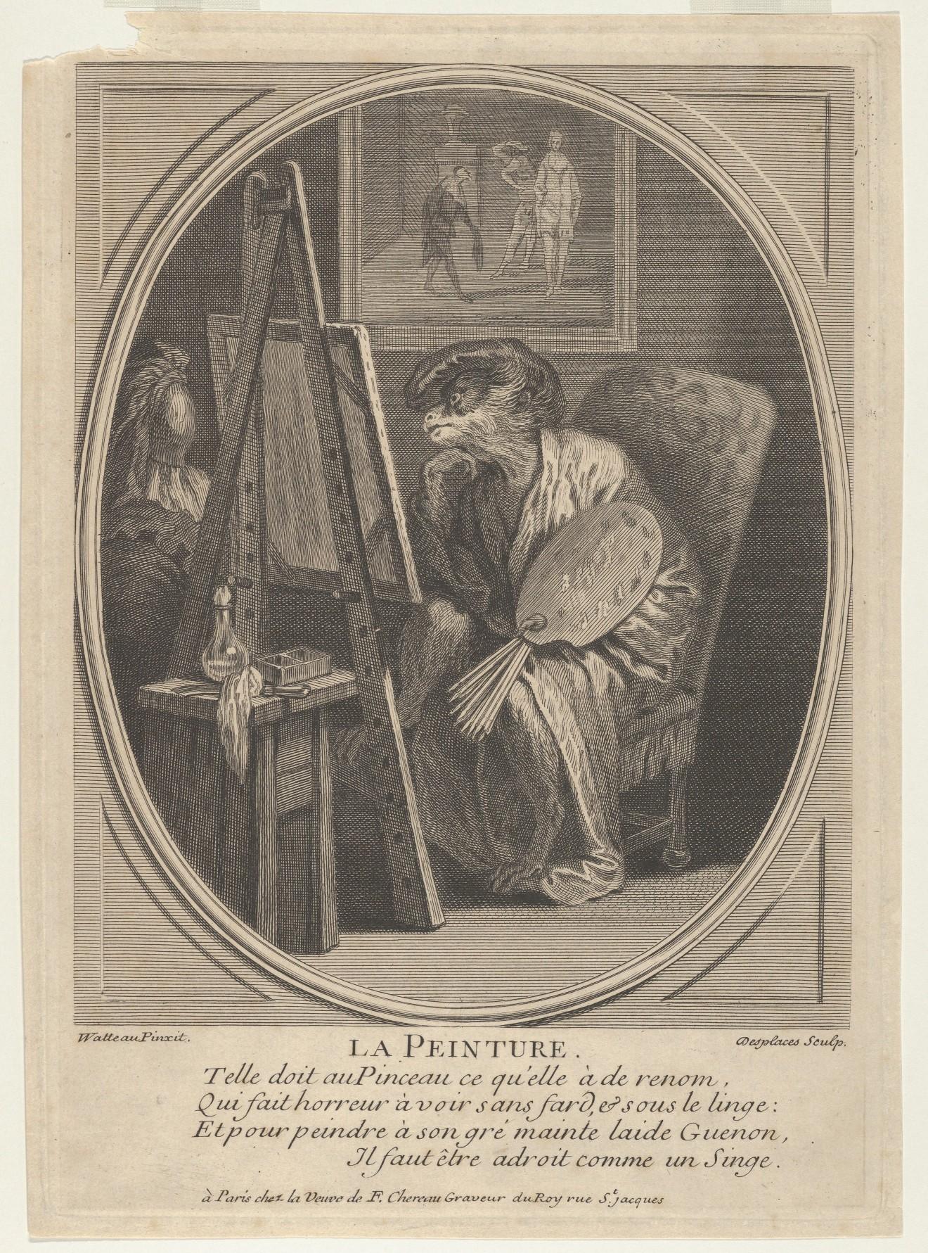 Le singe peintre, gravure de Desplaces