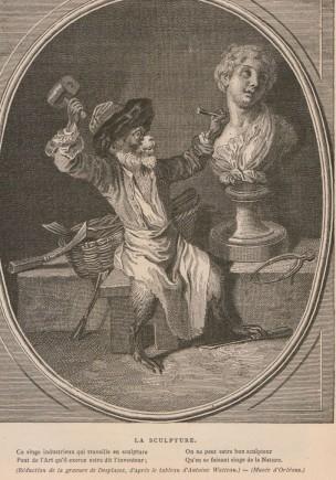 Le singe sculpteur, gravure de Desplaces