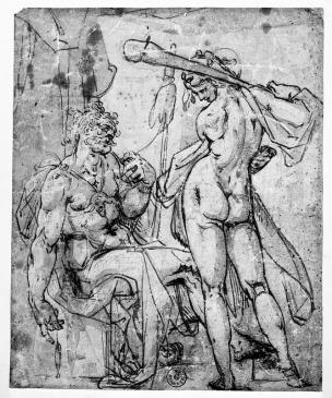 Spranger 1585 ca Hercule et Omphale esquisse Musee des Offices Florence