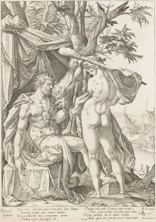 Spranger 1590 Hercule et Omphale gravure de Eisenhoit